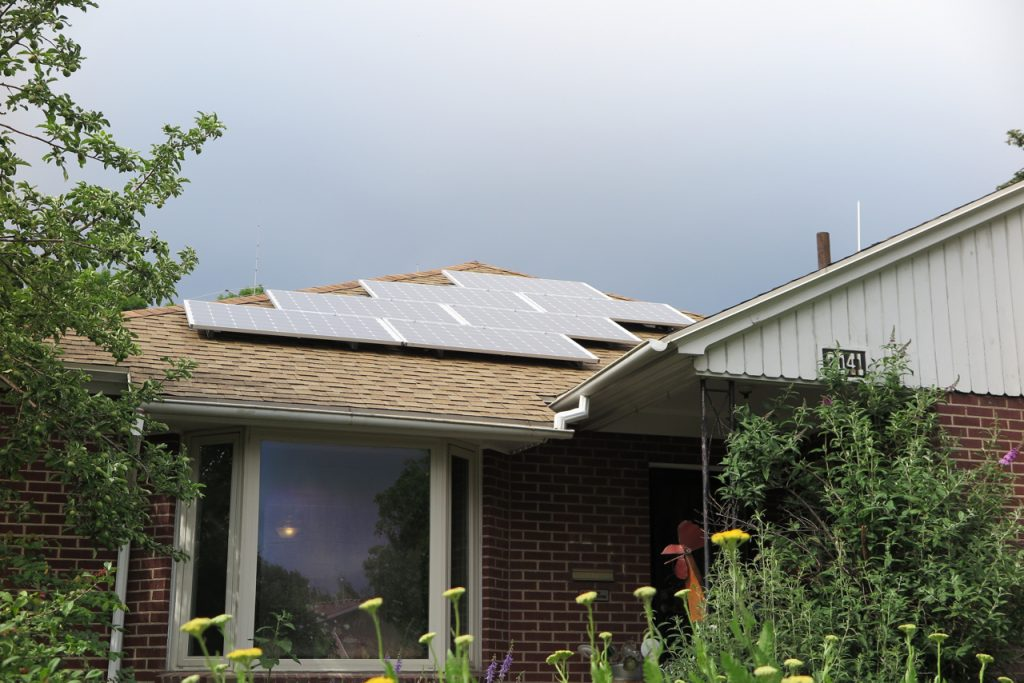 Solar panels on the roof of a house near the University of Utah.