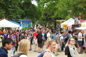Students, community members, and faulty enjoying the University of Utah Farmers Market