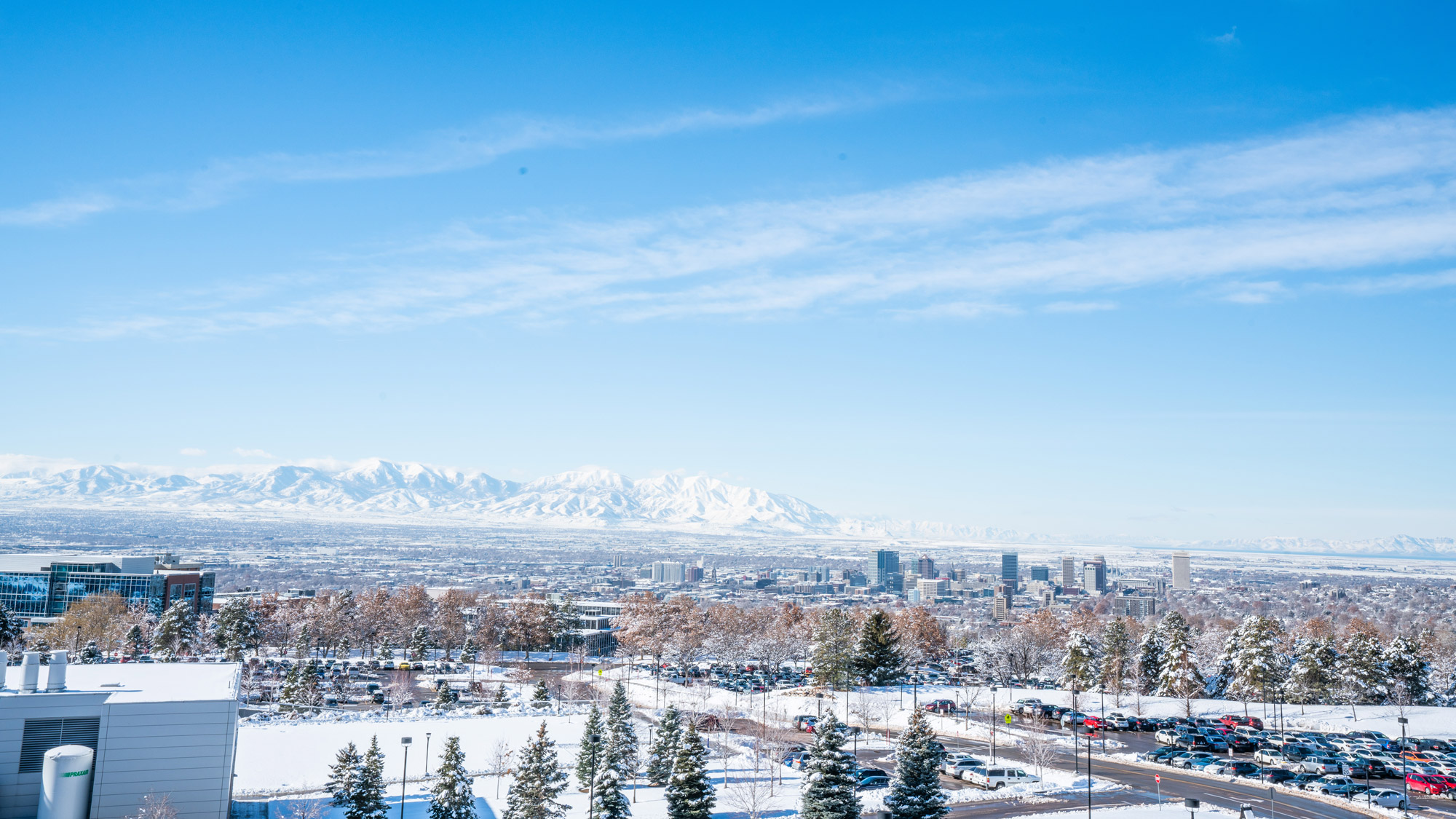 looking west at the Oquirrh Mountains over Salt Lake Valley